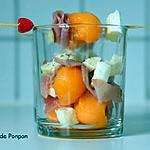 recette Verrine de billes de melon, mozzarella et jambon