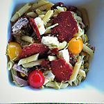 recette Salade terre-mer: pennes, chorizo, thon, courgettes et maïs
