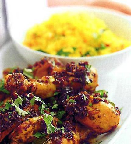 recette Poulet vindaloo et riz safrané
