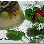 recette ** Aspic aux petits pois, olives, herbes fraîches (mélisse et fenouil) & oeuf mollet à l'agar-agar **