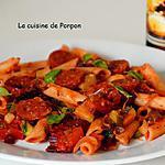 recette Penne, chorizo, courgette et fanes de betteraves rouges