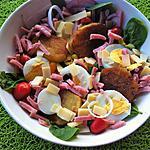 recette Salade fraîcheur aux pousses d'épinards,râpé de jambon et pommes sautées