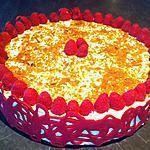recette Entremet framboise, mousse vanillée, croutillant chocolat blanc,praliné