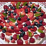 recette Tarte aux Fraises, Framboises , Myrtilles et Spéculoos sans cuisson.
