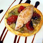 recette Tarte feuilletée à l'anchoiade, fondue de légumes croquants, tomates confites et filet de rouget