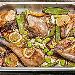 recette Poulet rôti au citron et légumes verts