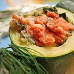 recette Courgettes farcies au saumon fumé et à l'aneth, façon brochettes
