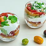 recette Verrines de tomate, melon, concombre et burrata