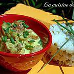 recette Porc au lait de coco et riz basmati aux petits pois