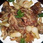 recette Pavé de porc aux oignons nouveaux et pleurotes