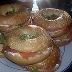 recette Sandwichs Bagels a la truite fumé