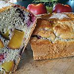 recette Gâteau péches et framboises  sans huile,sans beurre,sans sucre