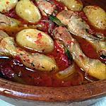 recette Cuisses de poulet sur tomates fraîches et ses pommes de terre