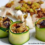 recette Fondue d'aubergine encerclée d'une fine tranche de courgette