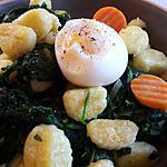 recette Gnocchis croustillants,épinards et oeuf coulant. Un plat express