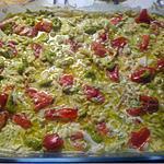 recette gratin tortis tricolore pesto vert, tomate