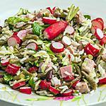 recette Salade de haricots, jambon, courgettes, radis et salicornes
