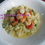 recette Pétoncles poêlées sur pommes de terre et poireaux à la crème