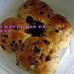 recette Pains trèfle(cranberries-pepites de chocolat)
