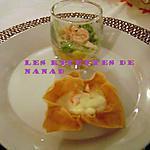recette Verrine de crevettes et corolle de surimi