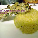 recette Risotto au giraumon et brochettes de poulet à l'oriental
