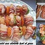 recette BROCHETTES DE POULET VENTRECHE ET ABRICOTS SECS