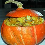 recette Potimarron farci aux risotto champignons et lardons