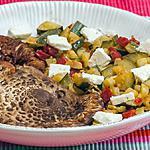 recette Coulemelles poêlées aux courgettes, chorizo et fêta