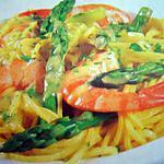 recette Spaghettis aux gambas et aux asperges