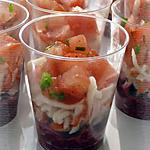 verrine betterave : recette Verrines apéritives à la betterave, au surimi & à la tomate
