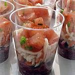 recette Verrines apéritives à la betterave, au surimi & à la tomate