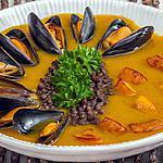 recette Soupe de potimarron aux lentilles et aux moules