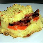 recette Mes carottes et ses lardons se faufilent entre deux couches de purée au fromage ail et fines herbes