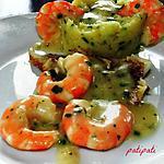 recette Filets de cabillaud avec une sauce aux scampis et purée aux fines herbes