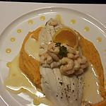 recette Filet de carrelet aux crevettes, patate douce et sauce aux agrumes