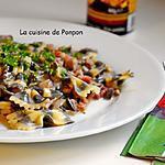 recette Pâte papillon à l'encre de sèche aux champignons et lardons