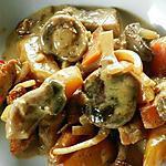 recette Sauté de veau en lanières accompagné de deux sortes de carottes et champignons des bois crème
