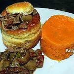 recette Vol au vent au pintadeau aux champignons des bois accompagné d'une purée de pomme de terre douce