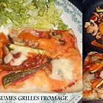 recette PIZZA  LEGUMES GRILLES ET QUATRE FROMAGES