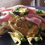 recette Pâtes jambon, courgettes, petits pois aux épices indiennes