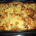 recette Gratin de penne sauce tomate à la viande et champignons