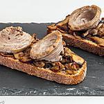 recette Tartine aux cèpes et à l'andouille
