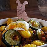 recette Un plat en 10min !  Gnocchis courgette lardons et oeuf