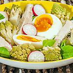 recette Salade de chou romanesco, poulet, oeuf et radis