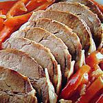 recette Rôti de porc aux poivrons