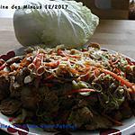 recette Lamelles de dinde Chou Patchoï et nouilles sautées