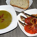 recette Soupe aux pois à la marocaine et sardines grillées