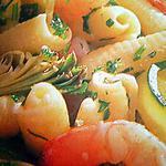 Pâtes en compagnies d'artichauts et de crevettes