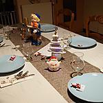"""recette Magret de canard flambé aux poires, déco de table et pliage de serviette thème """"musique."""""""