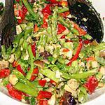 recette Salade d'aubergines, haricots verts et poivron rouge
